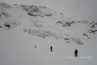 Gliding off the glacier towards the Schaubachhütte.
